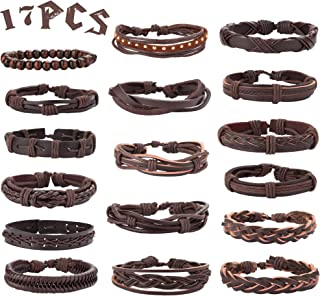 Mens Leather Bracelet Wrap Cuff Bracelets Braided Leather Bracelet for Men Women Wood Beads Bracelets Ethnic Tribal Leather Bracelet Adjustable 17pcs