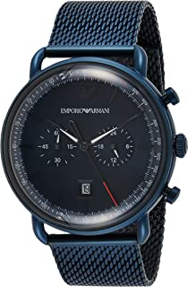 Emporio Armani Men's Blue Dial Stainless Steel Analog Watch - AR11289