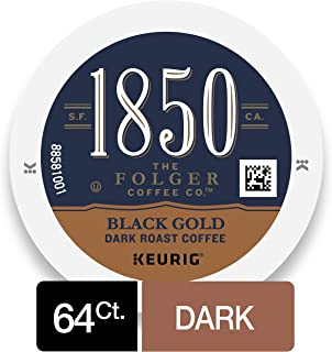 1850 Black Gold Dark Roast Coffee, 64 Count K Cups for Keurig Makers