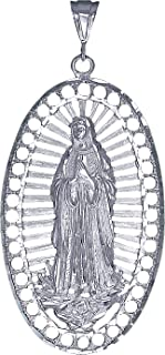 Sterling Silver Virgin Mary Pendant Necklace Large