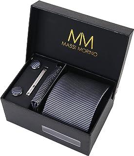 وصلات من Masi Morino للرجال I ربطة عنق مع أزرار أكمام منديل ومشبك ربطة عنق أنا هدية لحفل زفاف مع أكسسوارات الرجال