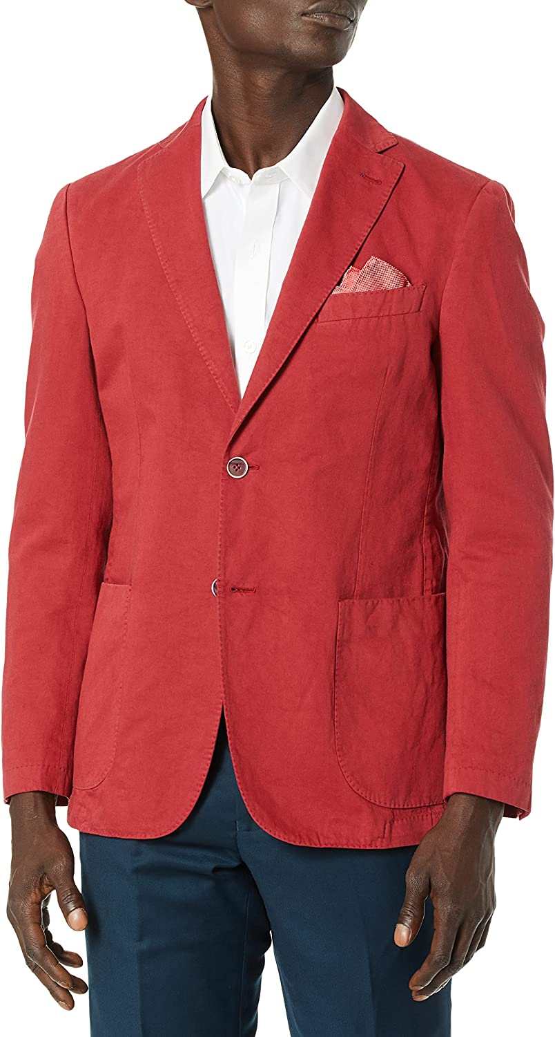 Bugatchi Men's Two Button Unconstructed Single Breasted Ruby Blazer