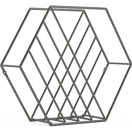 umbra マガジンラック 6角形 スチール製 雑誌収納 チタニウム W375×D120×H330mm ZINA 21008973378