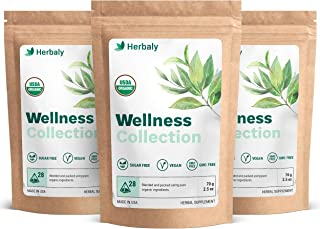 Herbaly Wellness Collection Tea 28 count bag, 70 g/2.5 oz (pack of 3)