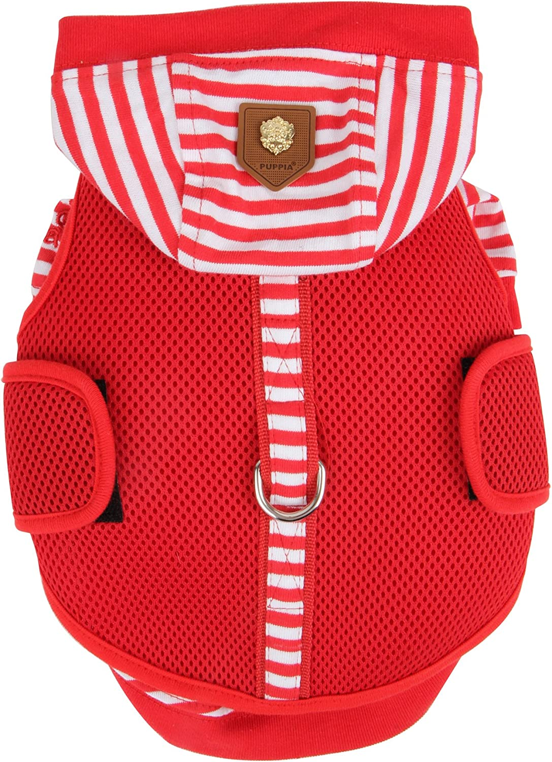 Puppia Twosome Harness and Hood Shirt Allin1, Large, Red