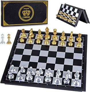 AMEROUS Magetic Travel Chess Set, Plastic Portable Folding Chess Board Game with Gold and Silver Chess Pieces - 2 Extra Qu...