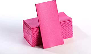 Magenta Napkins | Linen Feel Guest Disposable Cloth Like Paper Dinner Napkins | Hand Towels | Soft, Absorbent, Paper Hand Napkins for Kitchen, Bathroom, Parties, Weddings, Dinners Or Events | 50 Pack