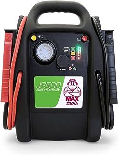 MAXTOOLS JS500, Arrancador y Batería de Emergencia para Turismos y Furgonetas, 2200A 22Ah, para Motores de Gasolina y Gasóleo, Jump Starter, Booster, con Linterna LED y Puerto USB
