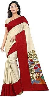 Jaanvi fashion Women's Linen Saree (Printed_Beige)