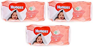 Huggies Soft Skin Baby Wipes, with Vitamin E, 56 Count (Pack of 3) Total 168 Wipes