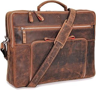 DONBOLSO Laptoptasche San Francisco 17 Zoll Leder I Umhängetasche für Laptop I Aktentasche für Notebook I Tasche für Damen und Herren Braun