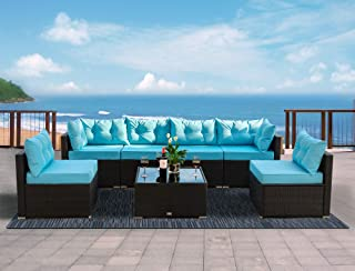 Urest Patio Furniture Sets 7 Pcs Rattan Furniture Chair Wicker Set,Outdoor Indoor Use Backyard Porch Garden Poolside Balcony Furniture in Black and Blue