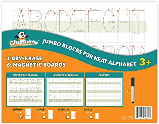 Channie's Big Blocks for Alphabets Numbers. 3 Pak Tracing Writing Numbers in Visual Format 8 x 11. Dry Erase, Magnetic