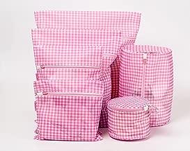 Set of 6 Delicates Mesh Laundry Bags, Dearjana Fine Mesh Bra lingerie Protection Plaid Washing Bag for Blouse, Stocking, Underwear, Bra(Pink)