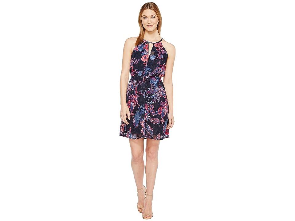 Lucky Brand Printed Halter Dress (Navy Multi) Women