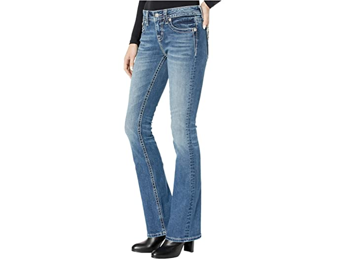 Miss Me Mid-rise Bootcut With Cow Hide Flap In Dark Blue Jeans