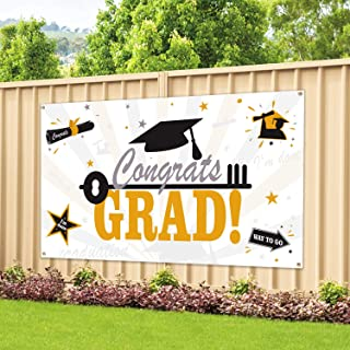 Large Fabric Graduation Party Banner 78''x45'' for Graduation Party Supplies 2019, Photo Prop/Booth Backdrop, Graduation Decorations Indoor/Outdoor