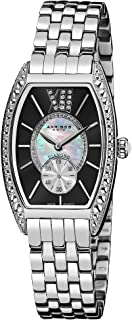 Akribos XXIV Women's Diamond Barrel Tonneau Watch - Mother-of-Pearl and Genuine Diamonds Dial Crystal Bezel On Stainless Steel Bracelet - AK470