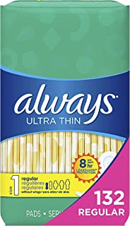 Always Ultra Thin, Size 1, Regular Pads, 132 Count, Unscented (44 Count, Pack of 3..