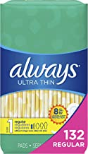 Always Ultra Thin, Size 1, Regular Pads, 132 Count, Unscented (44 Count, Pack of 3 - 132 Count Total)