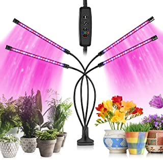 Dee Banna Grow Lights for Indoor Plants 80 LED Lamps with Full Spectrum & Red Blue Spectrum 10 Dimming Level & 4 Heads Grow Lamp with Timer 360°Adjustable Gooseneck for Seedlings and Succulents