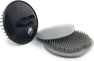 GBS Soft Pocket Shower Palm Hair Brush. Massage & Head Scratcher. Made In USA 2-Pack - Gray Plus 1 Black Shower Shampoo Brush - Head Scrubber Promotes Hair Growth. Multi Use for Women Men Beard !