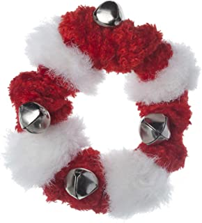 Red and White Fuzzy Bell Collar for Dogs, Large 9 To 17 Inches
