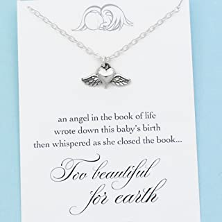 Angel Baby Memorial Charm • Miscarriage Necklace • Tiny Winged Heart • Sterling Silver • Too Beautiful for Earth