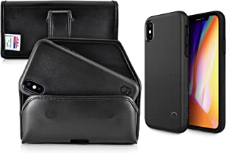 Turtleback Holster and Slim FIT ITG Level Case Combo Made for iPhone X Black Leather Belt Case Pouch (Horizontal) with Executive Clip and Mil Spec Certified Drop Tested Air Cushion Case