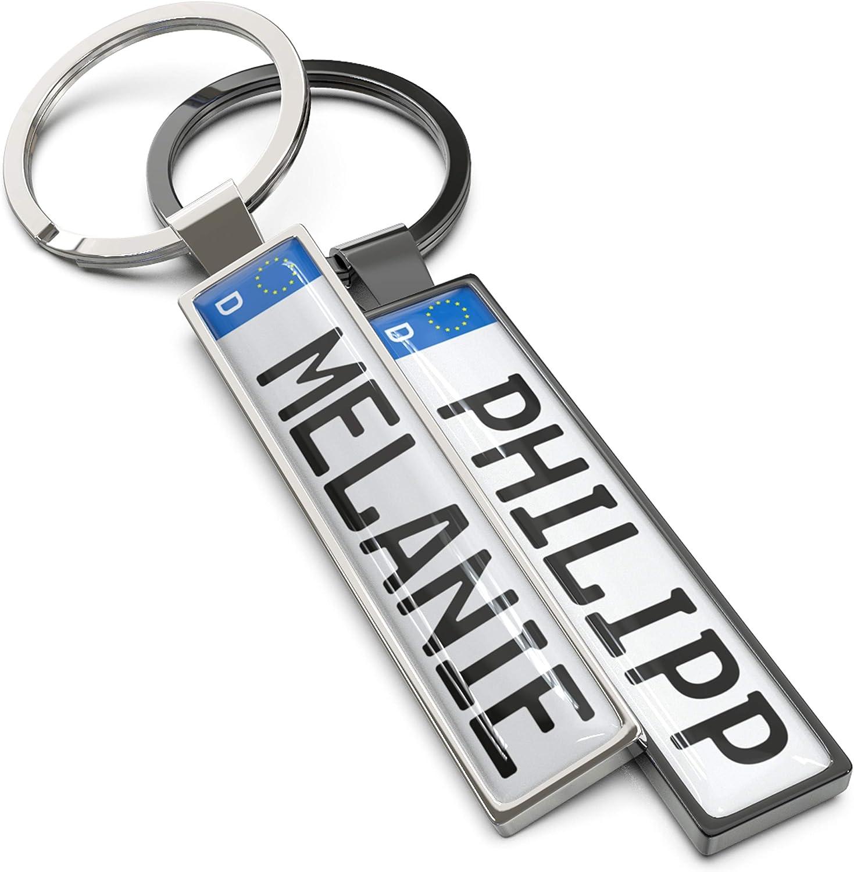 Wunderding Kennzeichen Schlüsselanhänger Mit Namen Personalisiertes Mini Kfz Kennzeichen Als Schlüssel Anhänger Männer Und Leidenschaftliche Autofans Silber Auto