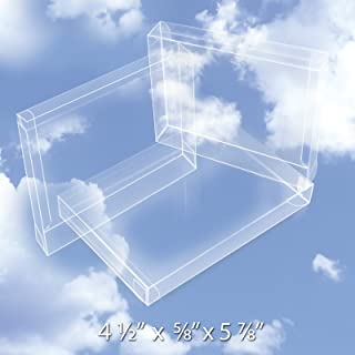 50 Crystal Clear Plastic Boxes (12 Mil) - Greeting Card Case Protects Stationery, Photos, Party Favors, A2 Envelopes - Bulk Acetate Box for Storage, Packaging, Gift Card Safe BOX5-4-1/2X5/8X5-7/8-B50