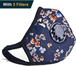 Military Grade N99 Anti Pollution Mask Washable Cotton Dust Face Mouth Mask with Valve Replaceable Filter for Pollen Allergy Flu Germ PM2.5 Men Women Kids (One Mask + 5 Filters) (Blue Flower)