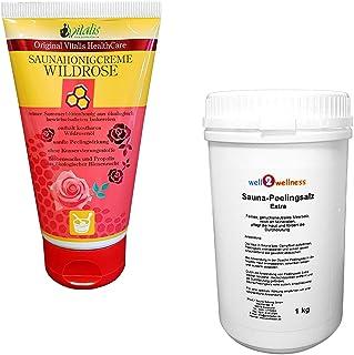 SudoreWell® Crème de sauna Wildrose 150 g + 1,0 kg Sel peeling de sauna