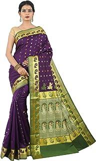 Misal Sarees, Women's Handloom Baluchari Silk Saree Bengal Origin with Blouse Piece (Violet)