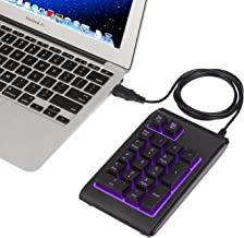 HDE USB Numeric Keypad with Adjustable LED Backlight, Water Resistant Mini 18 Key Number Pad - Color Changing Backlit Keys USB Wired Numpad for Windows PC Laptop Computer Macbook