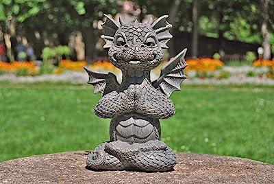 Ars-Bavaria Jardín Dragón en el Lotus Asiento Yoga Dragón Figura Jardín Figura: Amazon.es: Jardín