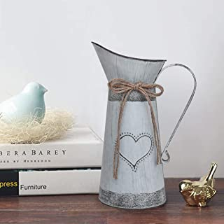 Soyizom Vintage Metal Milk Can Pitcher,Rustic Primitives Jug Vase with Heart-Shaped and Rope Design for Wedding Party Decoration(Gray-Blue)