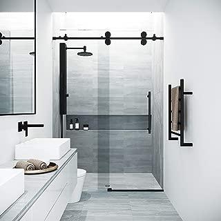 VIGO Elan Adjustable Frameless Sliding Shower Door, Matte Black, 60'' W x 74'' H