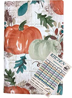 Fall Vinyl Tablecloth Flannel Backed Autumn Orange and Green Pumpkins Among Foliage Leaves with Script On Wood Plank Backg...