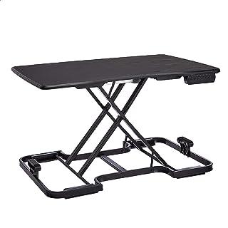 AmazonBasics 5-Level Adjustable/Portable Electronic Computer Workstation, Standing Desk Converter, Wood Surface - Black