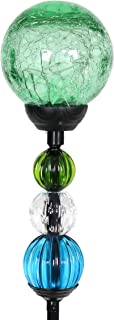Exhart Solar Green Cracked Crystal Ball Yard Stake w/ 6 LED Lights & Glass Ball Bead Details - Glass Globe Metal Stake, Glass Ball Ground Stake, Glass Orb Outdoor Lights, 3.5