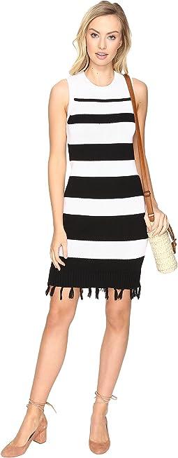 Dri Stripe Sweater Dress with Fringe