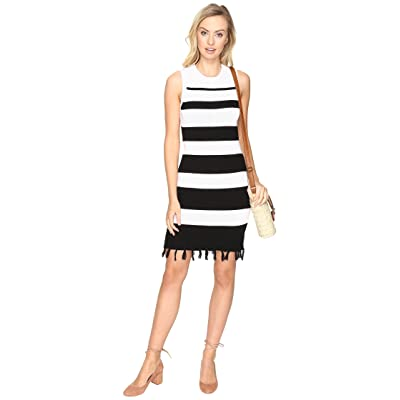 Jack by BB Dakota Dri Stripe Sweater Dress with Fringe (Black) Women