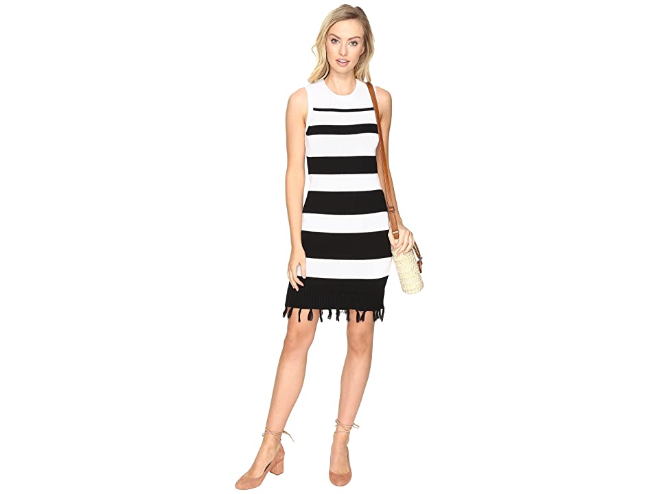 Jack by BB Dakota Dri Stripe Sweater Dress with Fringe (Black) Women