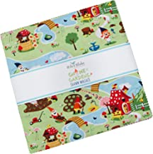 """Shawn Wallace Gnome and Gardens 10"""" Stacker 42 10-inch Squares Layer Cake Riley Blake 10-7890-42"""