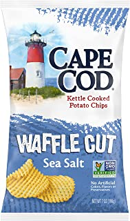 Cape Cod Potato Chips, Waffle Cut Sea Salt Kettle Cooked Chips, 7 Oz