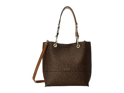 Calvin Klein Logo Tote (Brown/Khaki/Luggage Saffiano) Tote Handbags
