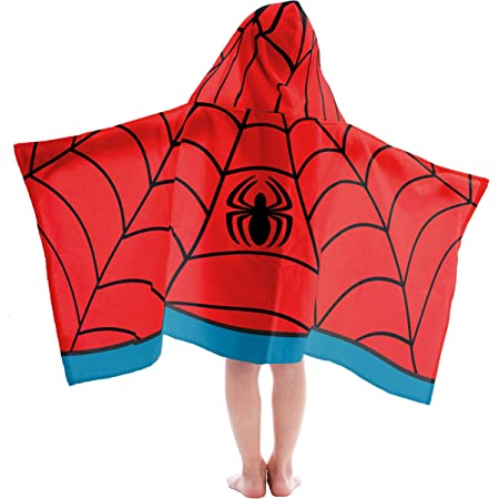 Amazon Com Jay Franco Kids Hooded Towel Avengers Spiderman Red Home Kitchen