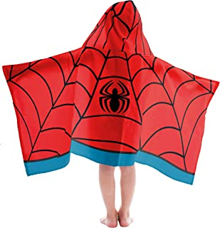 Jay Franco Marvel Spiderman Super Soft & Absorbent Kids Bath/Pool/Beach Hooded Towel - Fade Resistant Cotton Terry Towel, Measures 22.5 inch x 51 inch (Official Marvel Product)