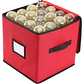 Sattiyrch Christmas Ornament Storage Box,600D Oxford Fabric Stores up-to 64 Standard Holiday Ornaments Holder,12 x 12 Inch 4 Layer Xmas Storage Containers